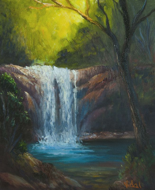 Oil On Canvas Painting Waterfall