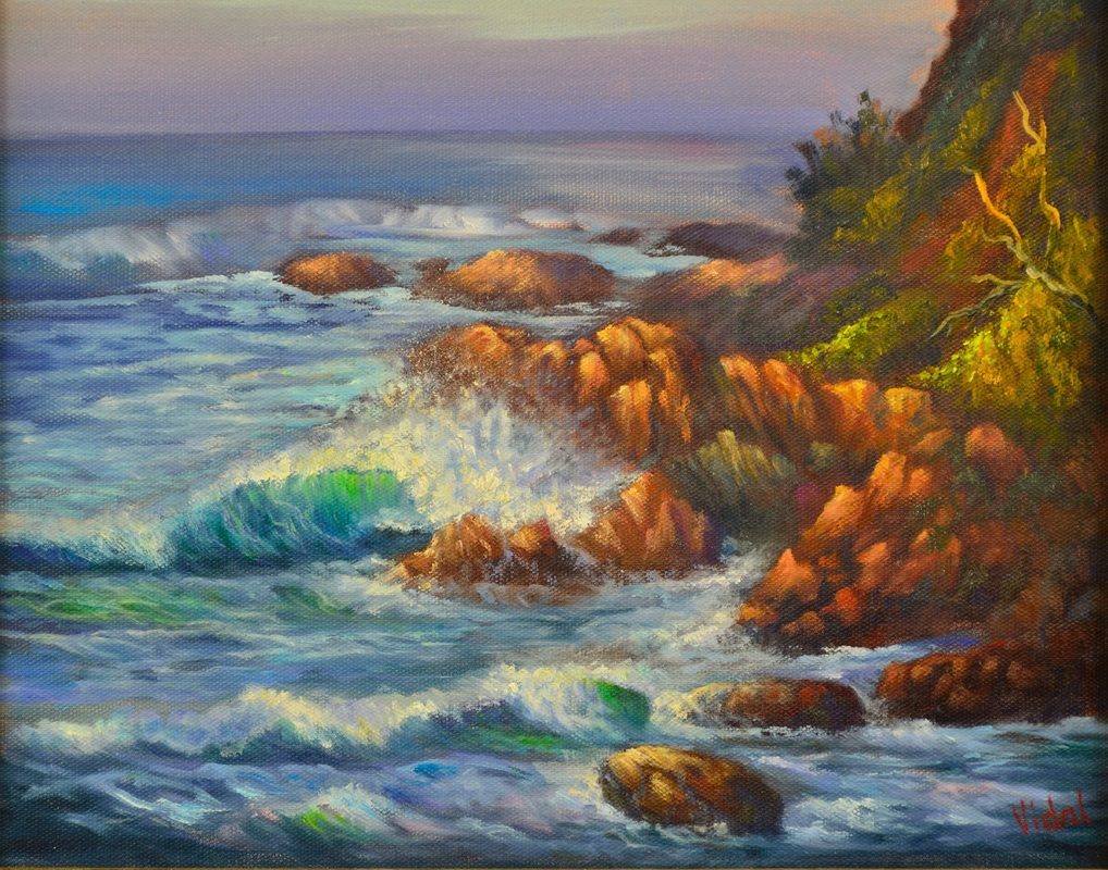 original oil painting of crushing wave at Coolum Beach