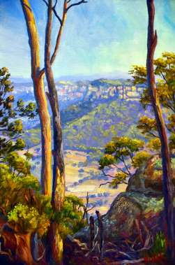 Original oil on canvas of a view on Wolgan Valley