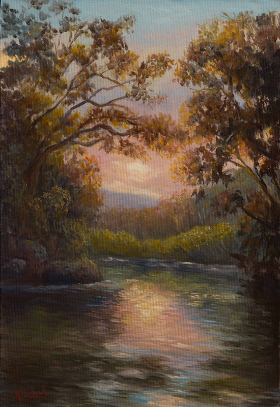 Original Australian landscape painting in oils of sunset near Moonie beach by Vidal