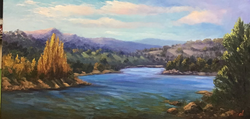 Original Australian landscape in oil of lake Jindabyne   Bluethumb Vidal