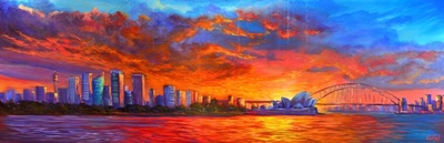 Acrylic painting of Sydney Harbour sunset
