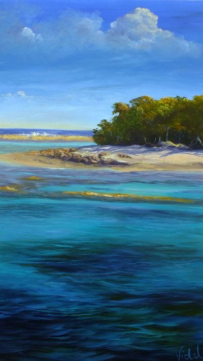 Acrylic painting Lady Musgrave Island great barrier reef Queensland