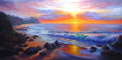 oil on linen sunrise at Forresters beach central coast