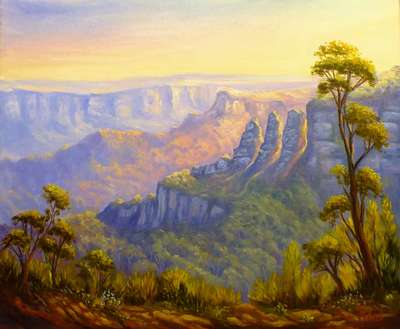 Original oil painting Australian landscape afternoon light on Three sisters from Leura